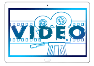 Tablet with video word and imagery
